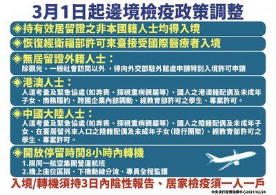 中央流行疫情指揮中心快訊:3月1日起,恢復非本國籍人士入境條件及桃園機場轉機作業