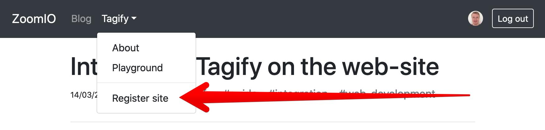 "Tagify ""Register site"""