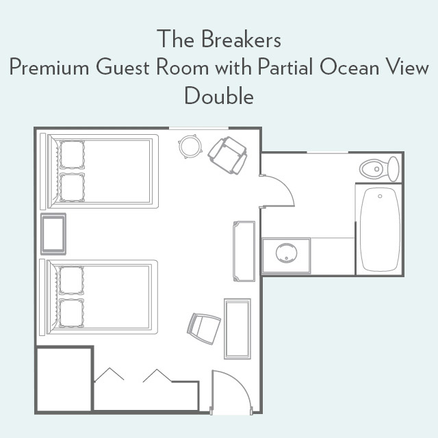 Floor Plan for Premium Guest Room with Partial Ocean View and Double Beds