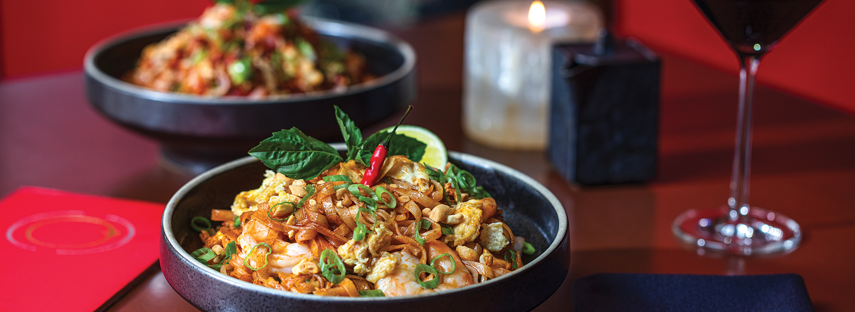 Shrimp Pad Thai with Fried Rice at Echo Palm Beach