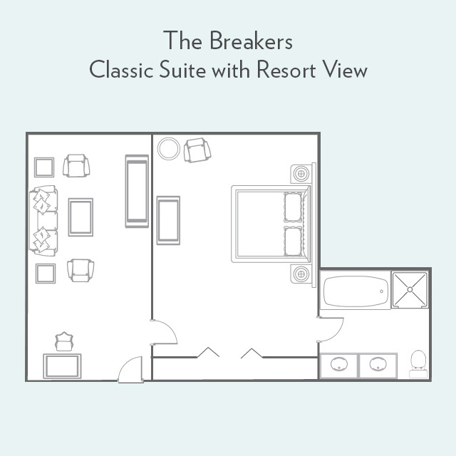 Floor plan for Classic Suite with Resort View