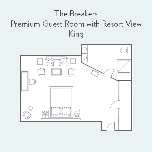 Floor Plan for Premium Guest Room with Resort View and King Bed