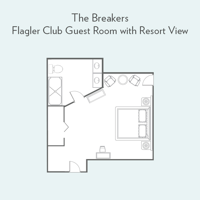 Floor plan for Flagler Club Guest Room with Resort View