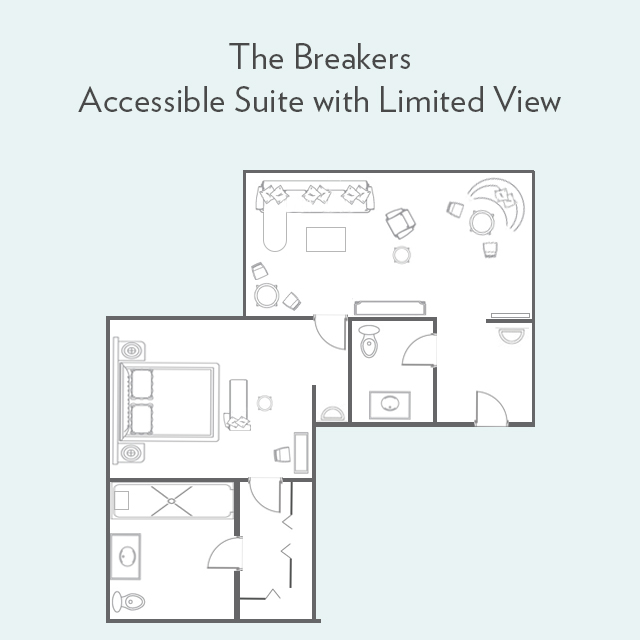 Floor Plan for Accessible Suite Limited View Bathroom