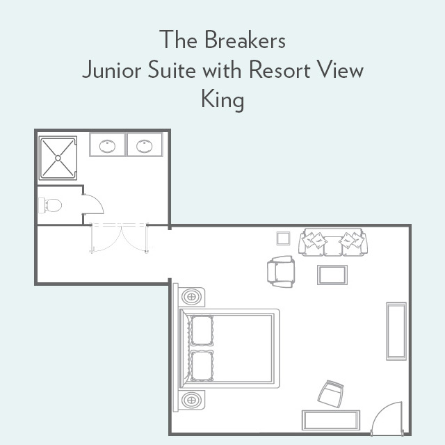 Floor plan for Junior Suite with Resort View and King Bed