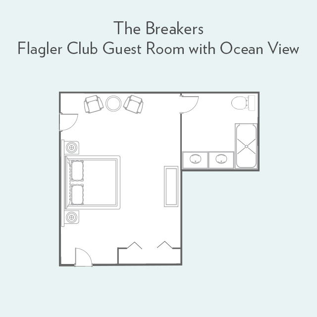 Floor plan for Flagler Club Guest Room with Ocean View