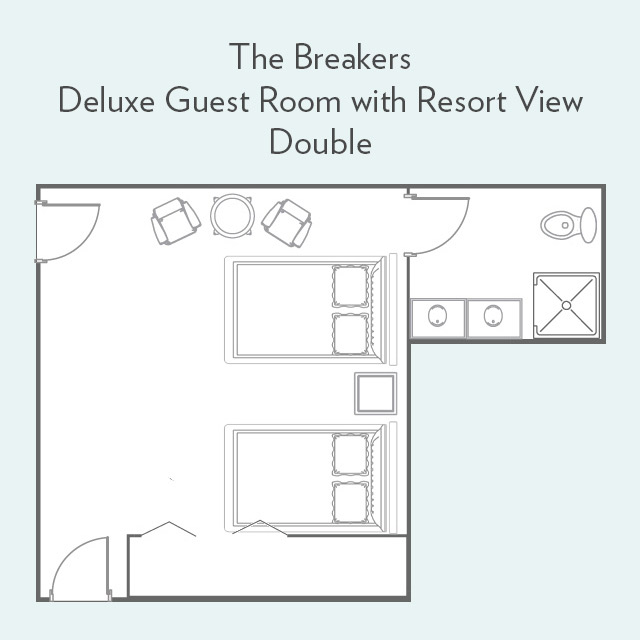 Floor Plan for Deluxe Guest Room with Resort View and Double Beds