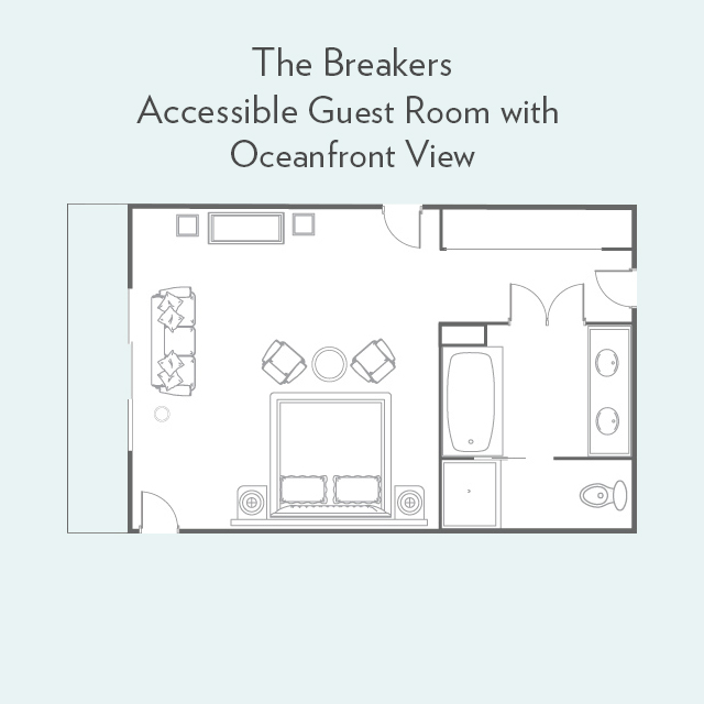 Floor Plan for Accessible Guest Room Oceanfront View