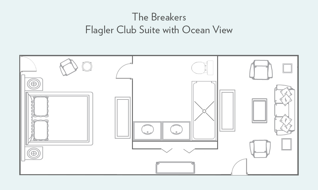 Floor plan for Flagler Club Suite with Ocean View Living Room