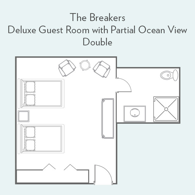 Floor Plan for Deluxe Guest Room with Partial Ocean View and Double Beds