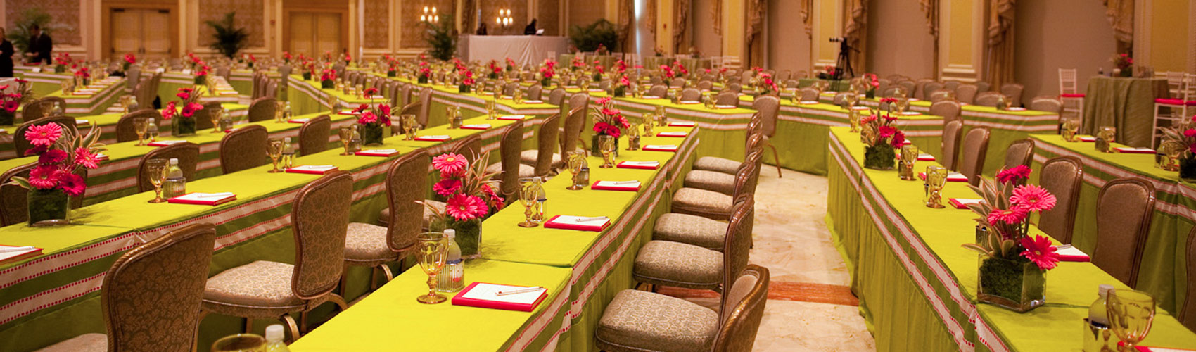 A meeting setup in the Venetian Ballroom at The Breakers