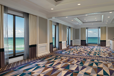 A meeting setup in the Ponce de Leon Ballroom at The Breakers
