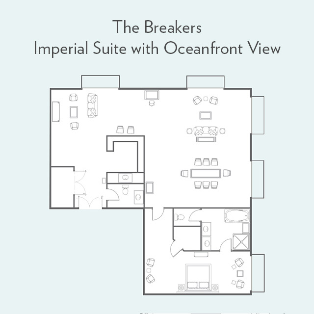 Floor plan for Imperial Suite with Oceanfront View