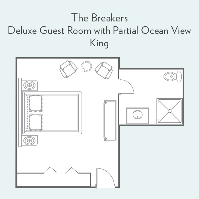 Floor Plan for Deluxe Guest Room with Partial Ocean View and King Bed