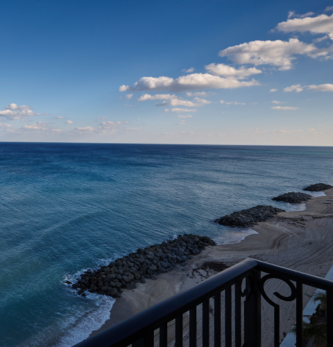 Oceanfront balcony view from a suite at The Breakers Palm Beach