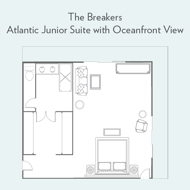 Floor plan for Atlantic Junior Suite with Oceanfront View