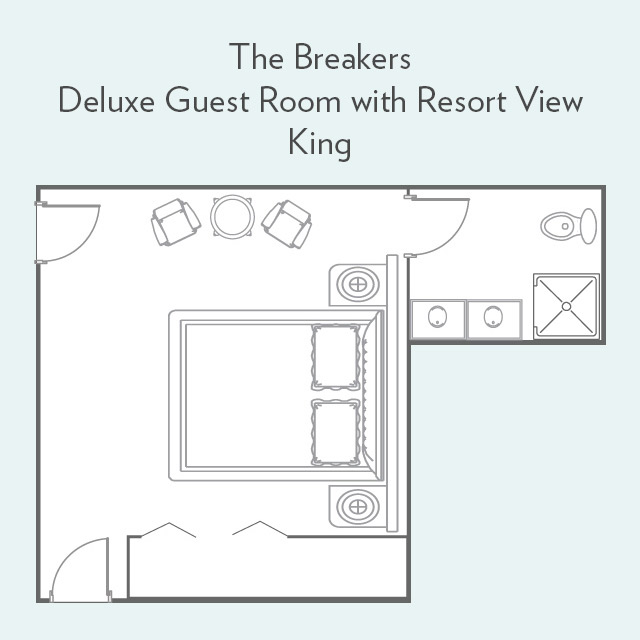 Floor Plan for Deluxe Guest Room with Resort View and King Bed