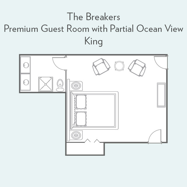 Floor Plan for Premium Guest Room with Partial Ocean View and King Bed