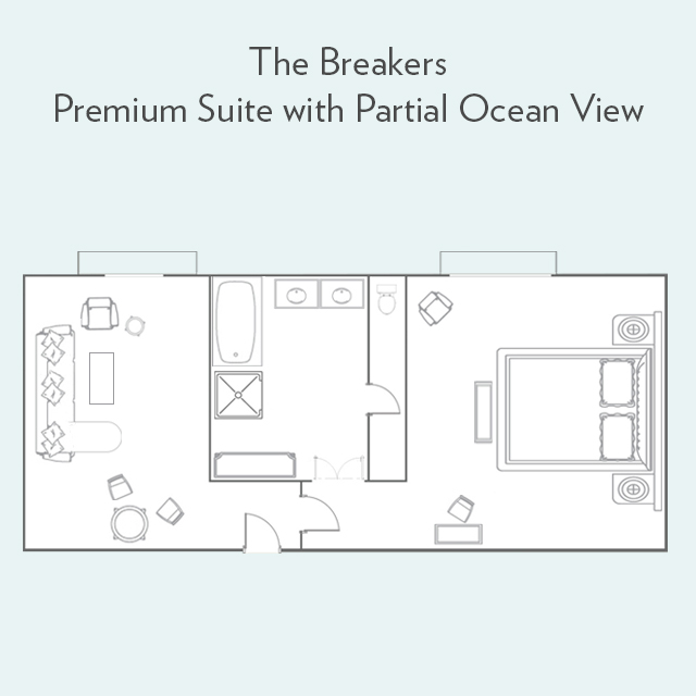 Floor plan for Premium Suite with Partial Ocean View