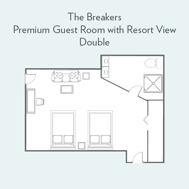 Floor Plan for Premium Guest Room with Resort View and Double Beds