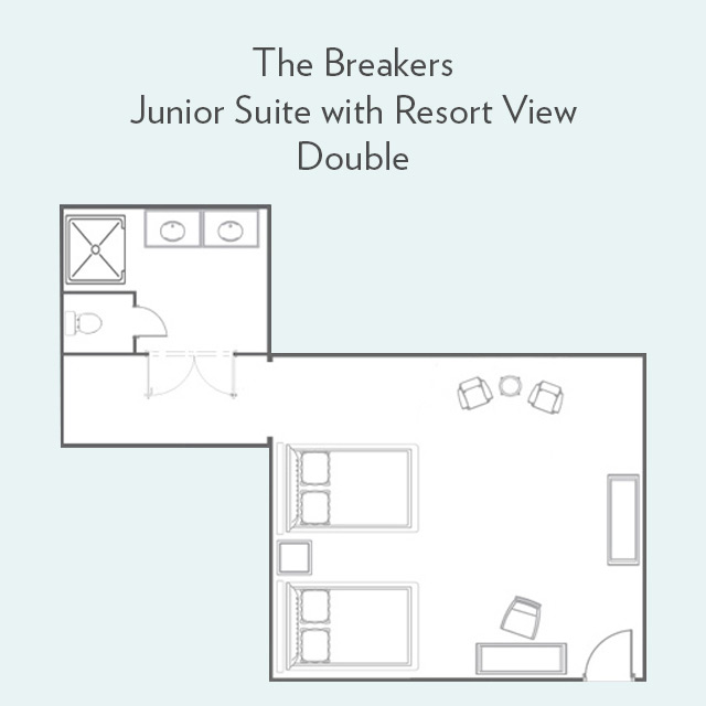 Floor plan for Junior Suite with Resort View and Double Beds