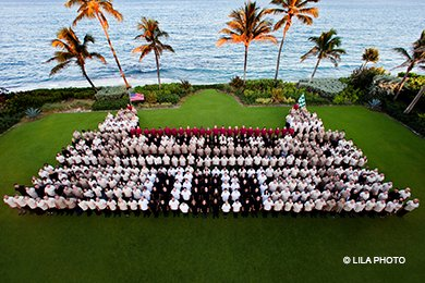 Team members form The Breakers living logo on the Ocean Lawn
