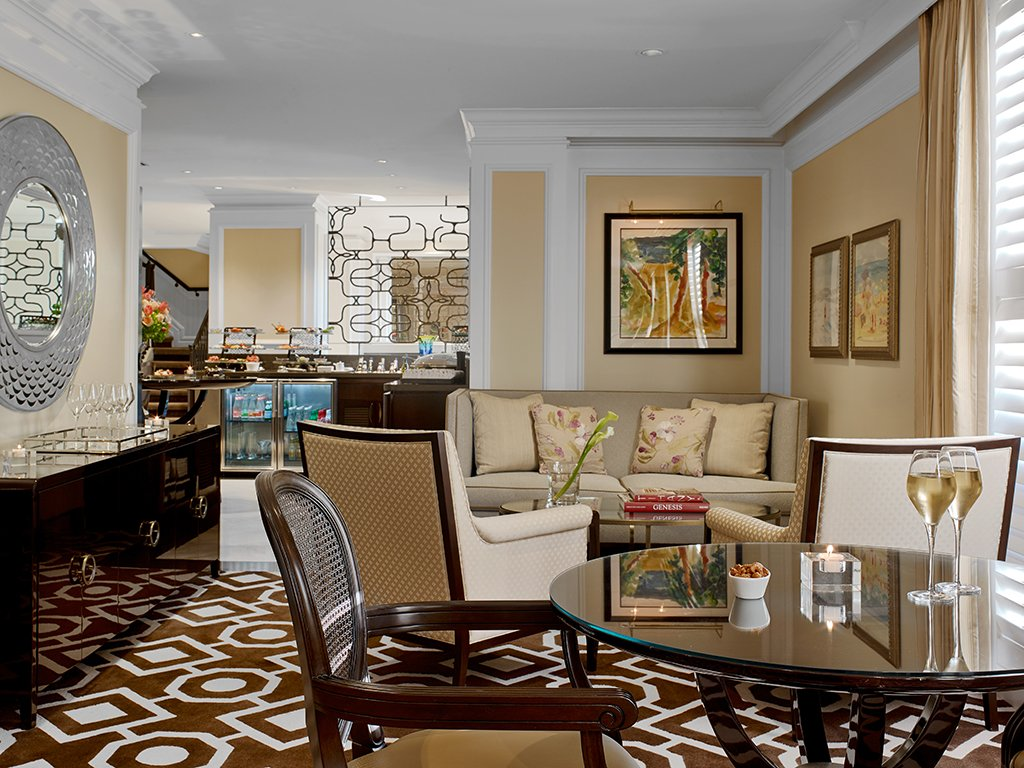 Two glasses of wine in Flagler Club's private lounge