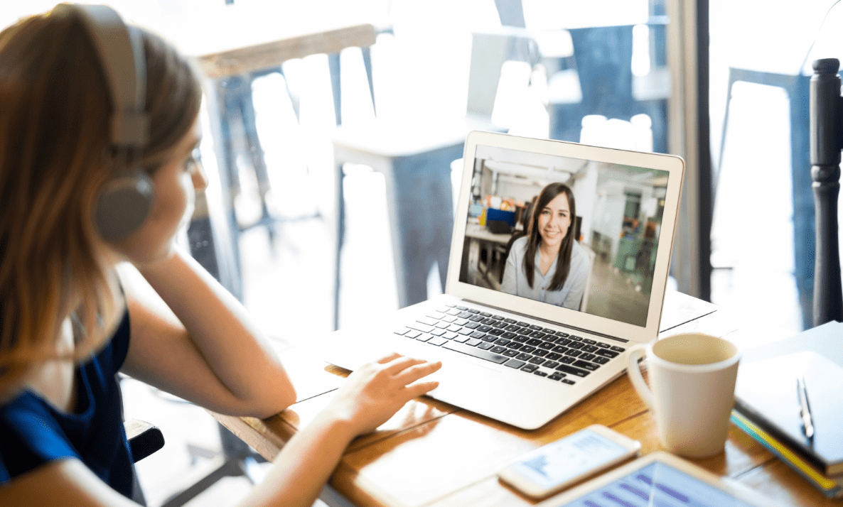 Video conferencing from a coffee shop