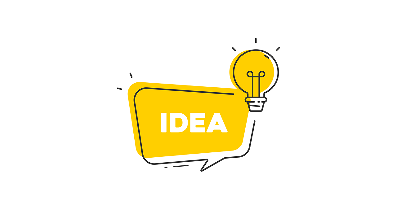 Idea in a conversation box and a lightbulb