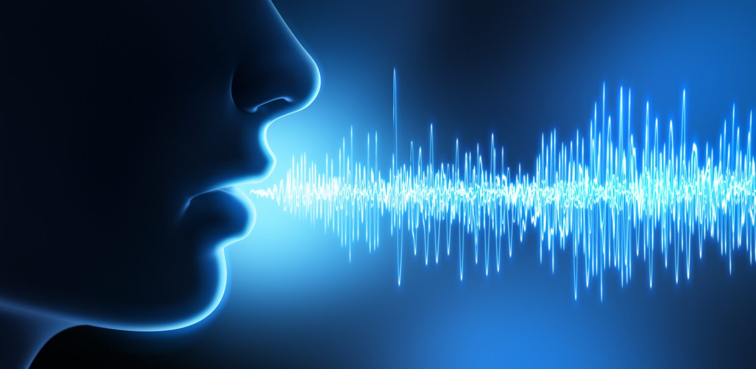 Human face and mouth and sound waves - 3D illustration