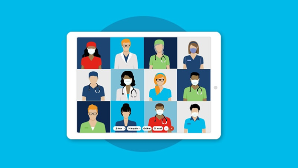 remote healthcare workers using Webex video conferencing