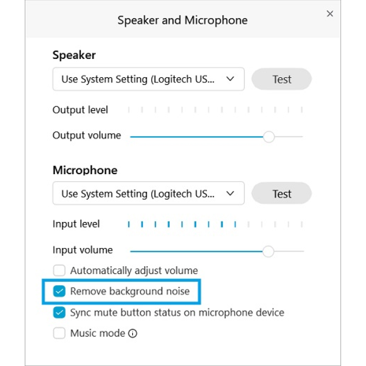 remove background noise UI and speaker and microphone