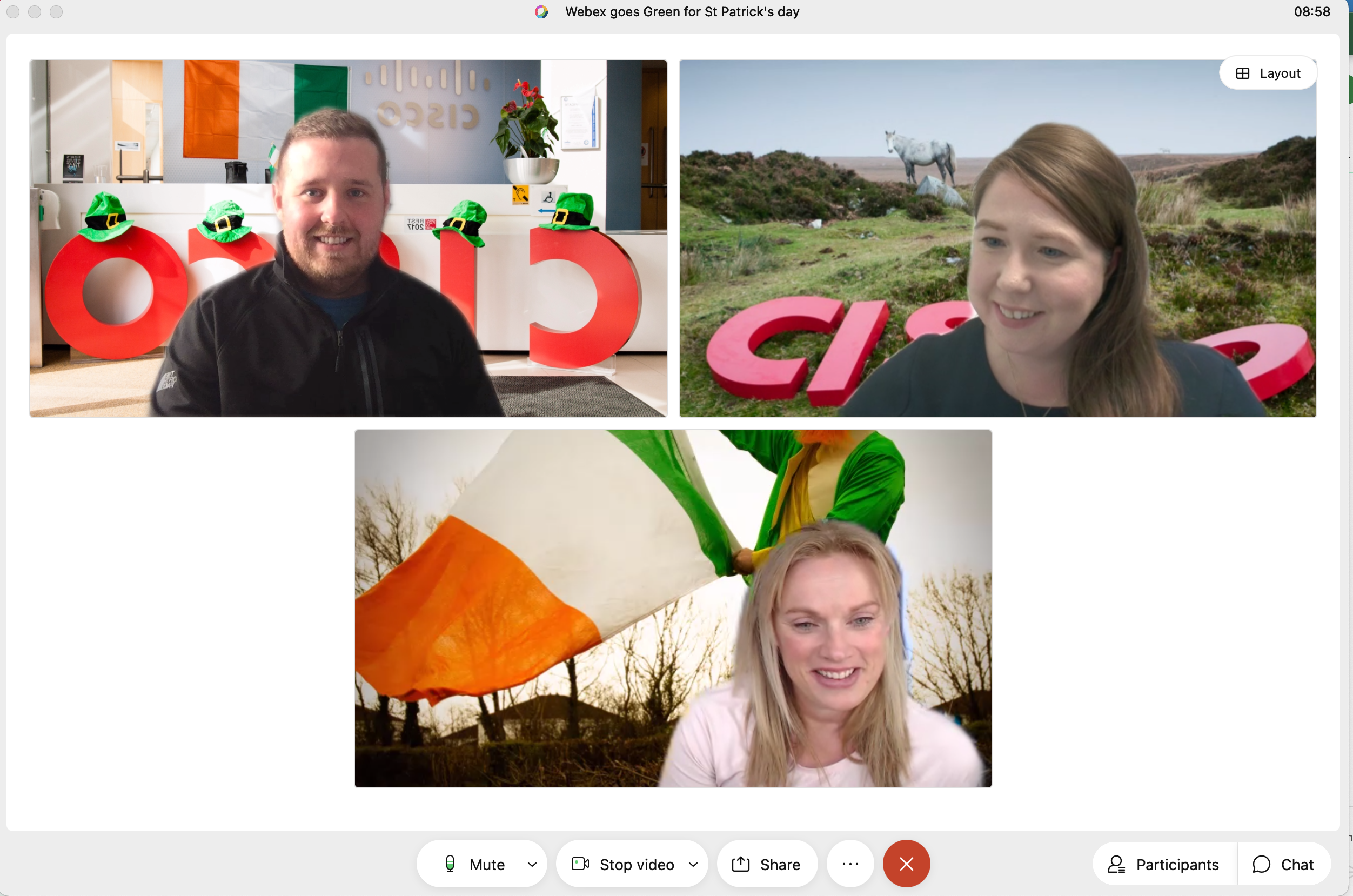 Co-workers at Cisco using Irish backgrounds in their meeting