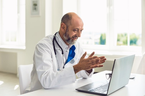 Doctor using Webex video conferencing