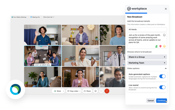 Workplace from Webex Meetings across many online places