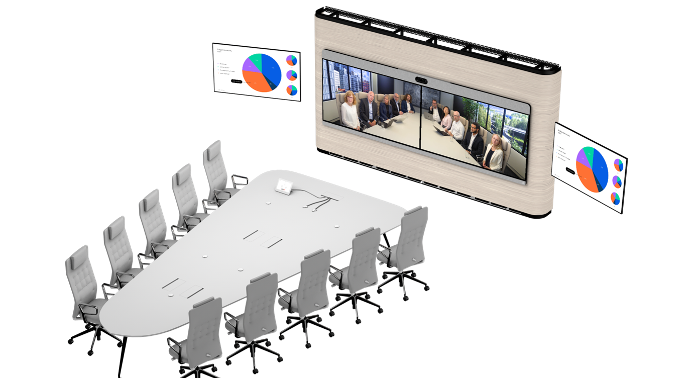 conference room looking onto Webex devices with main meeting room