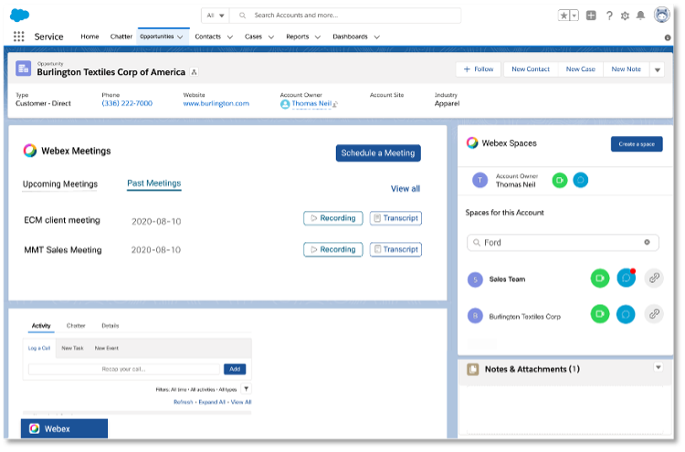 The Webex App for Salesforce