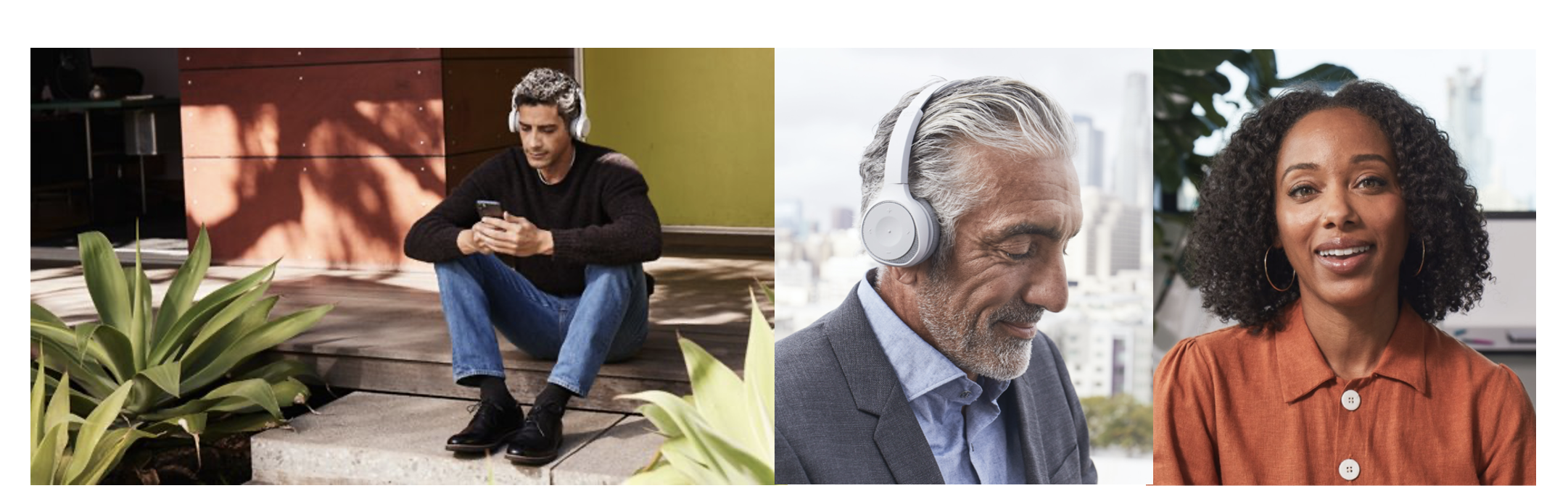 man sitting on stairs, man wearing cisco headset, and woman smiling