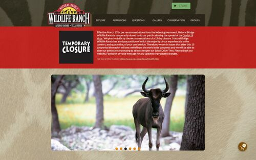 Welcome to the Natural Bridge Wildlife Ranch in San Antonio
