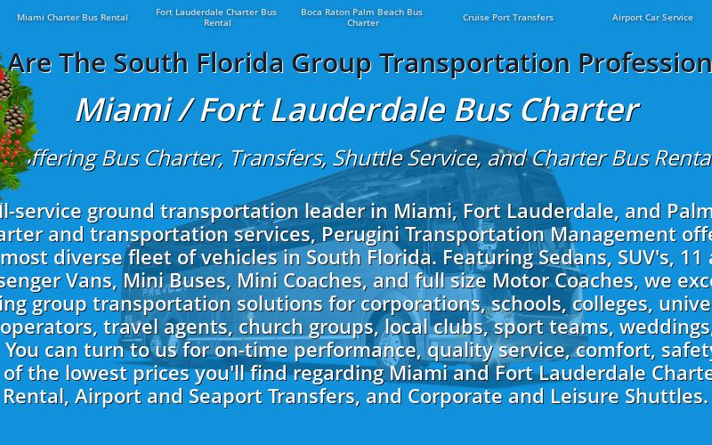 Miami Fort Lauderdale Group Transportation Services Bus Charter