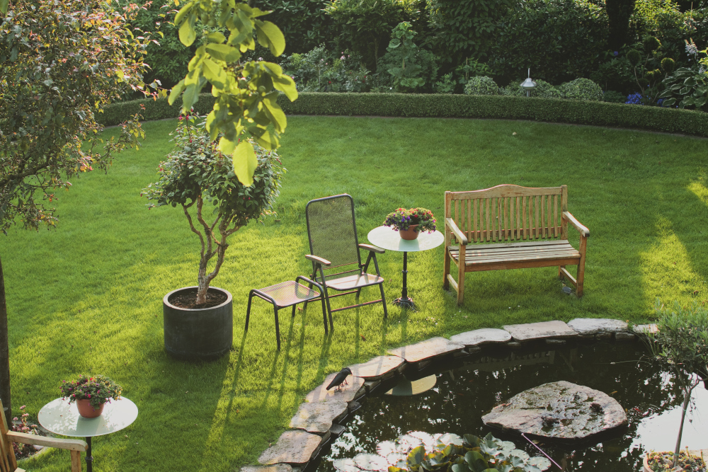 Bradley Lawn Care leaves your backyard looking fantastic. Great top view shot of a back yard area.