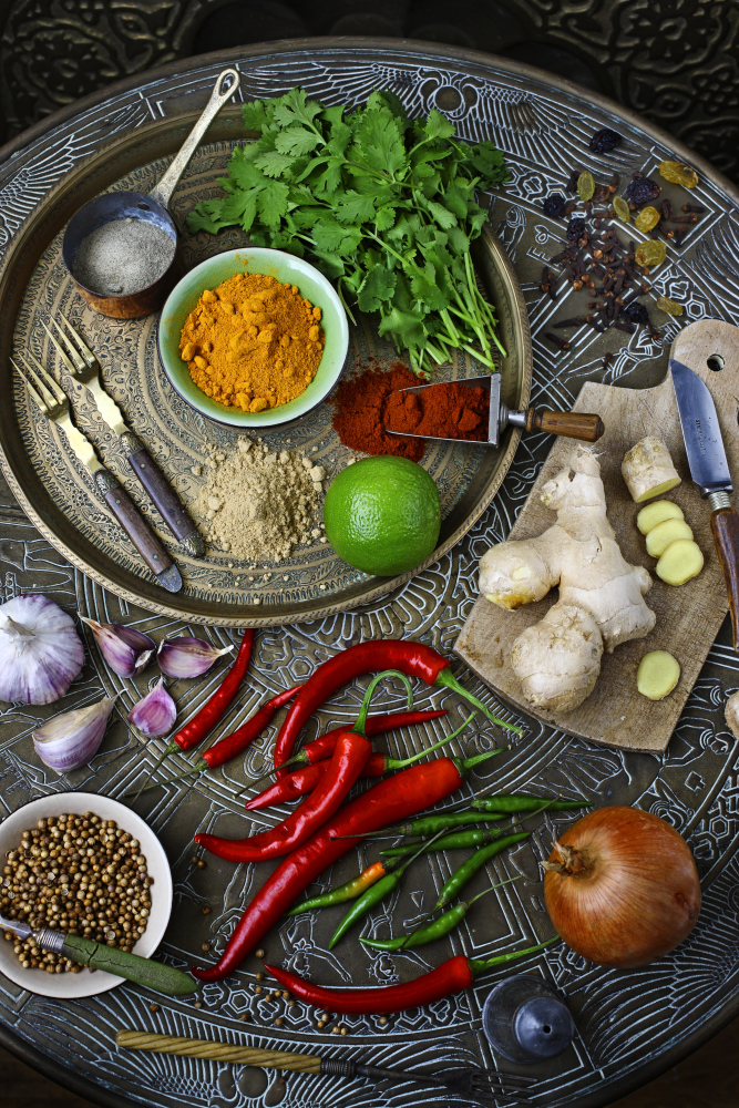 Raw whole foods and spices