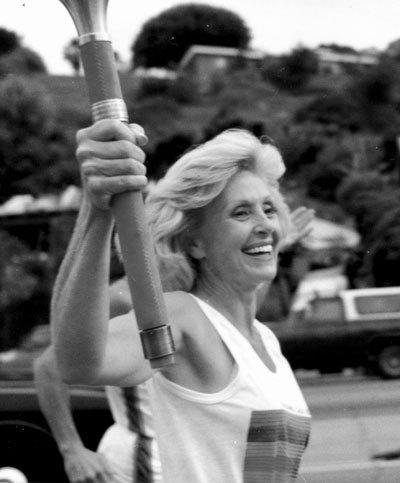 Marian winning the marathon