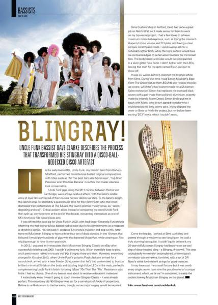 Uncle Funk in Bassist Magazine. December 2014
