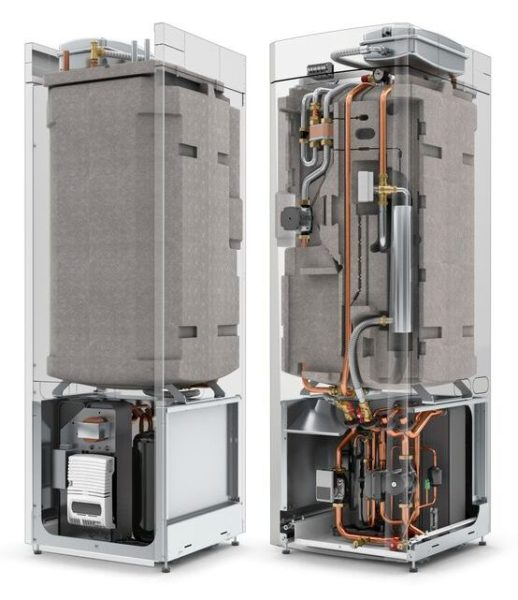 ground source heat pump inverter driven with thermal store