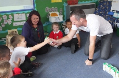 Peter Kyle MP celebrates World School Milk Day with the children at West Blatchington Primary