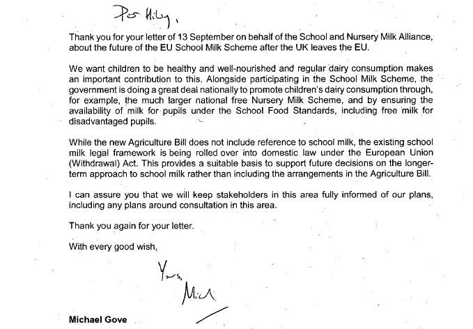 Michael Gove responds to the Alliance's calls for continuity of the school milk scheme post-Brexit