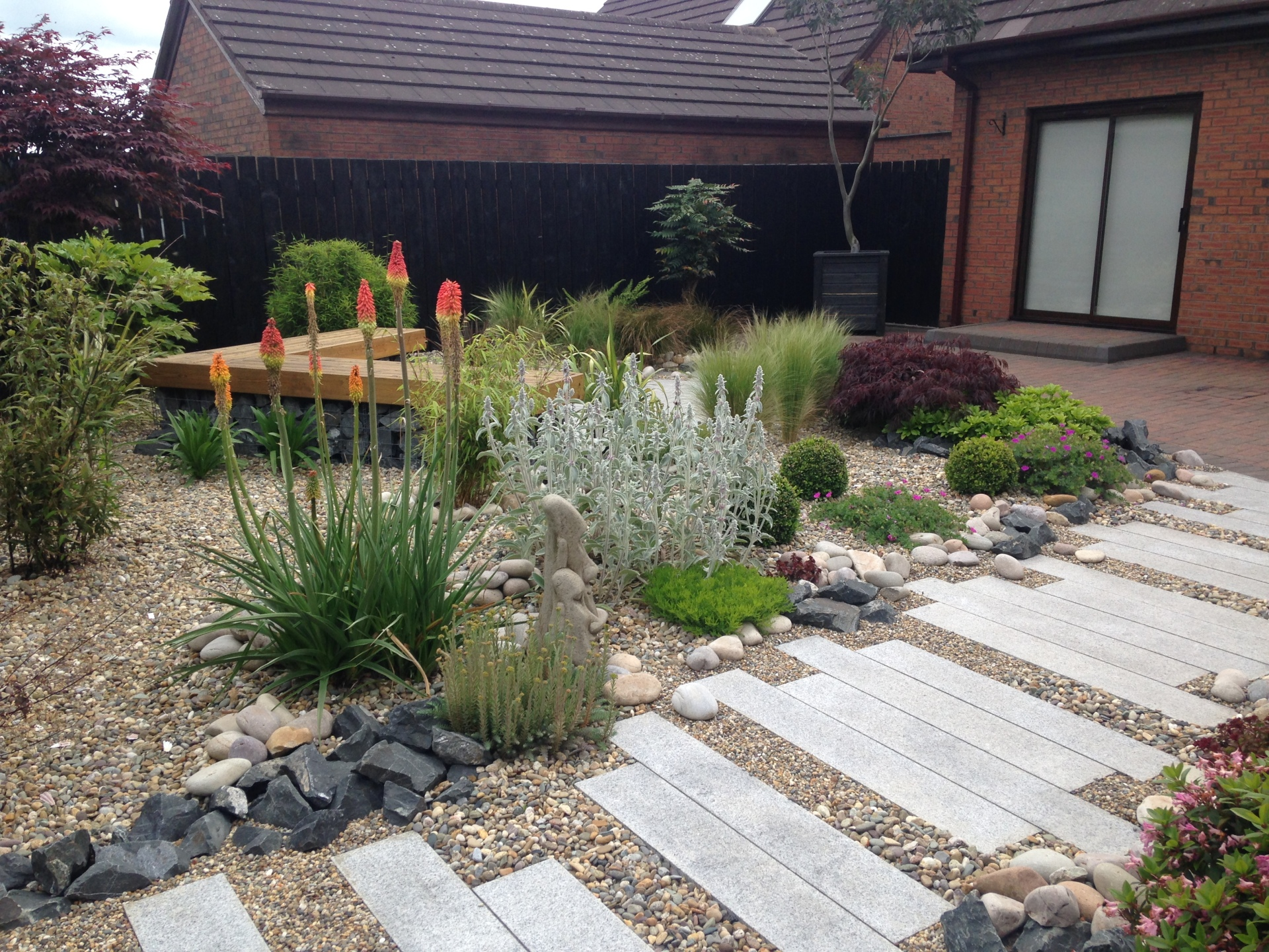 Low maintenance architectural planting through gravel mulch.