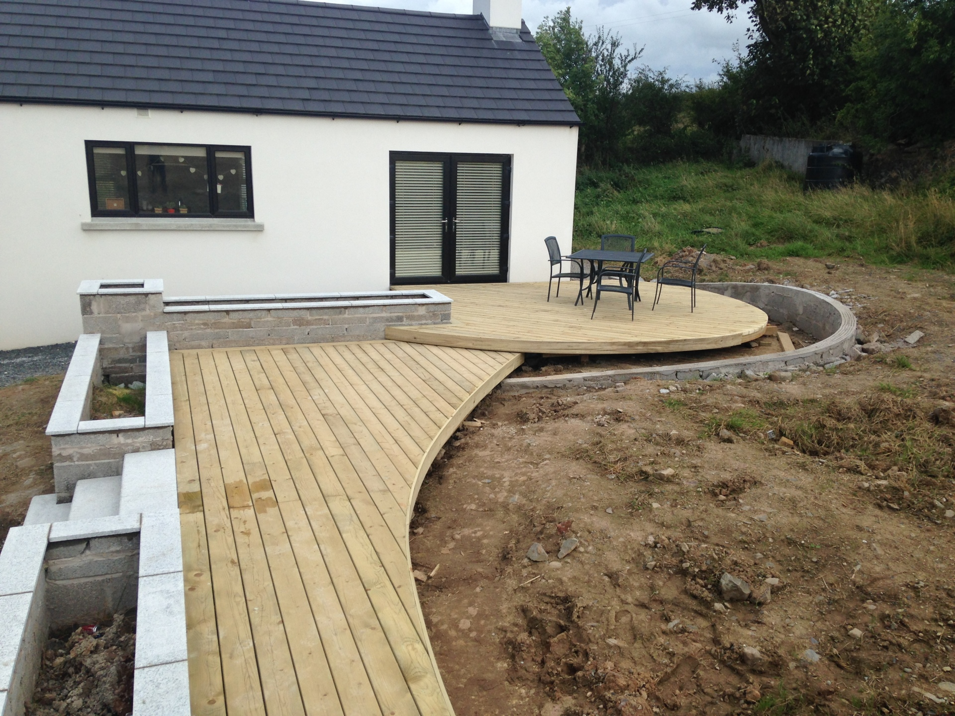 curved timber deck