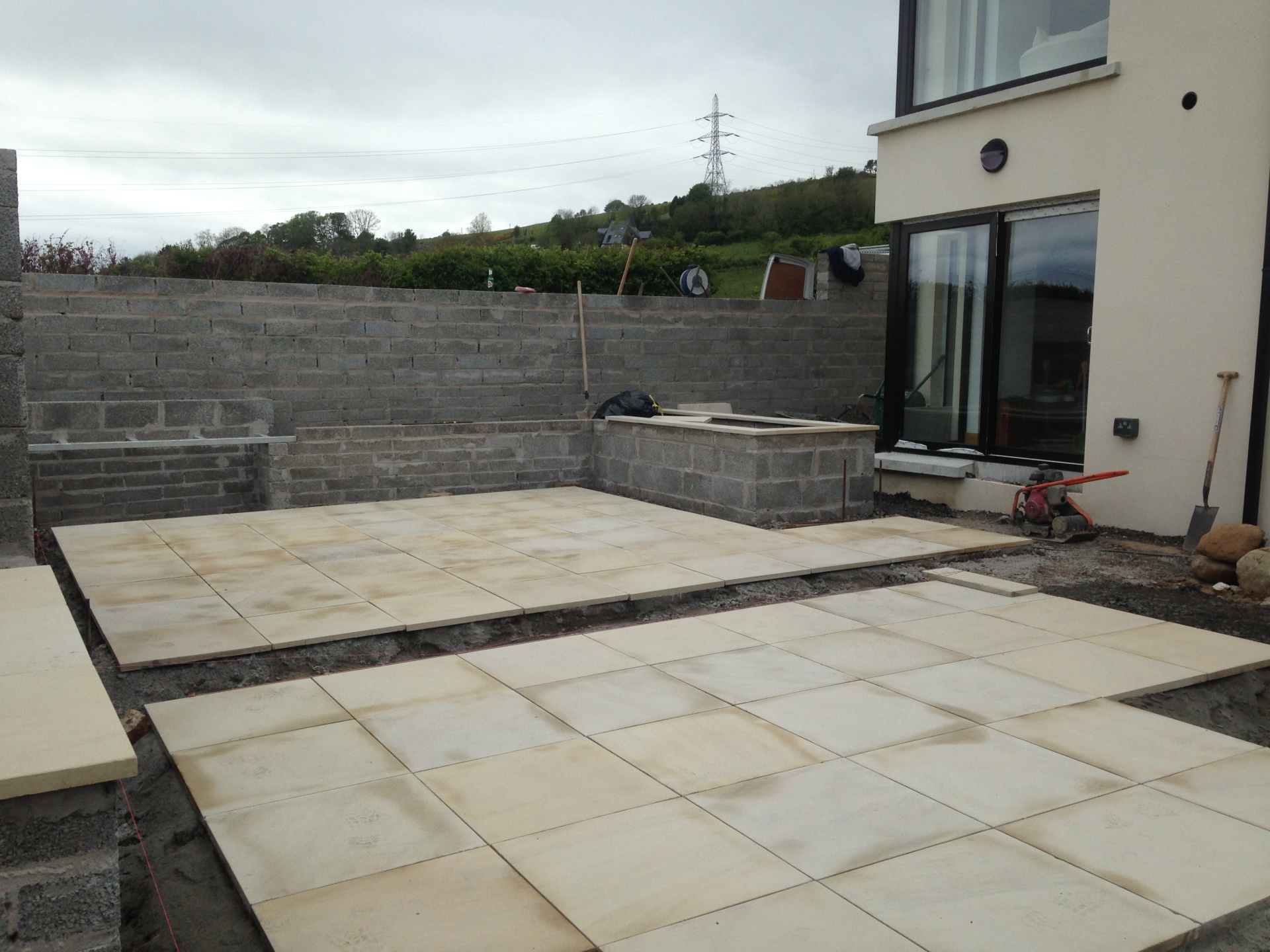 sawn and sandblasted sandstone